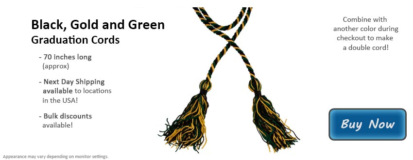 Black, Gold, and Green Graduation Cord Picture