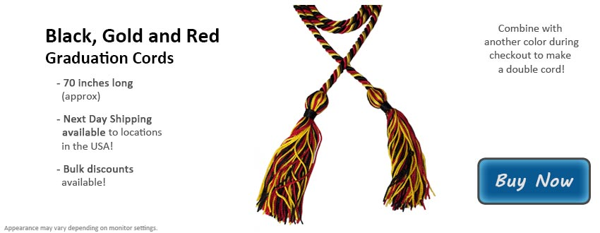 Black, Gold, and Red Graduation Cord Picture