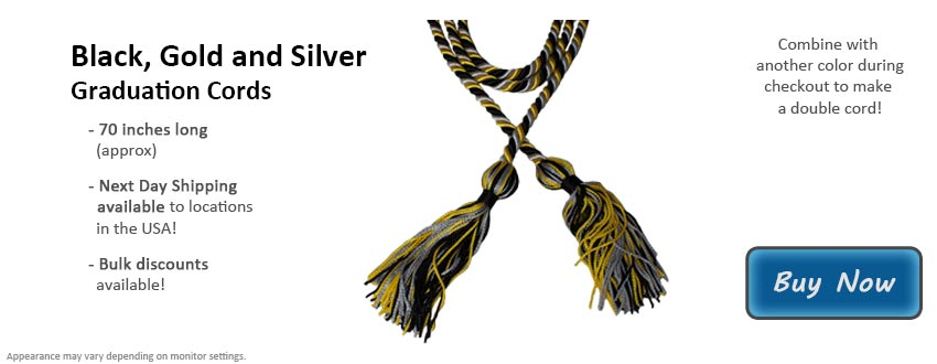 Black, Gold, and Silver Graduation Cord Picture
