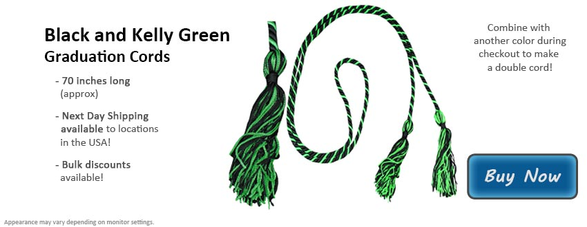 Black and Kelly Green Graduation Cord Picture