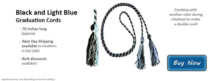 Black and Light Blue Graduation Cord Picture
