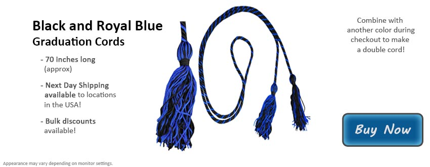 Black and Royal Blue Graduation Cord Picture