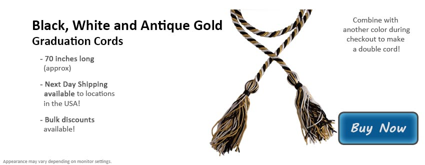 Black, White, and Antique Gold Graduation Cord Picture
