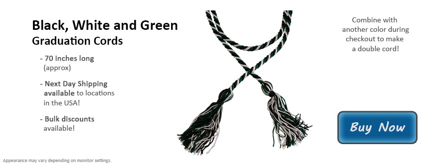 Black, White, and Green Graduation Cord Picture