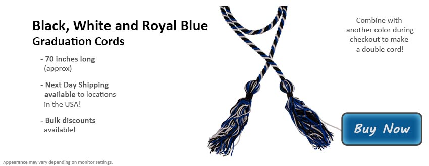 Black, White, and Royal Blue Graduation Cord Picture