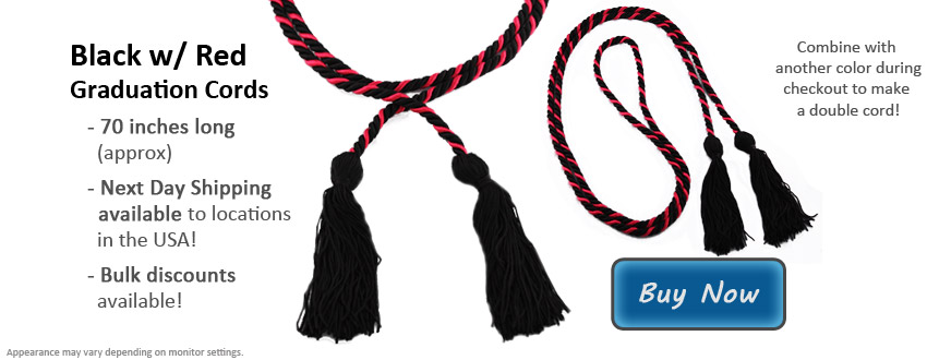 Black and Red Graduation Cords to Wear For Honors