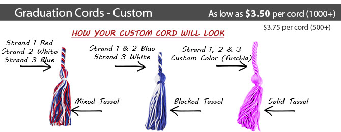 Black//Maroon//White-mixed tassel Graduation Cords Three-color