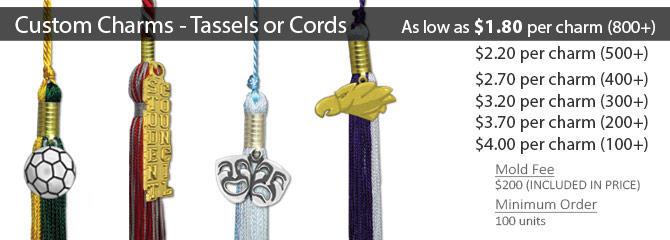 custom charms for tassels or cords honors graduation