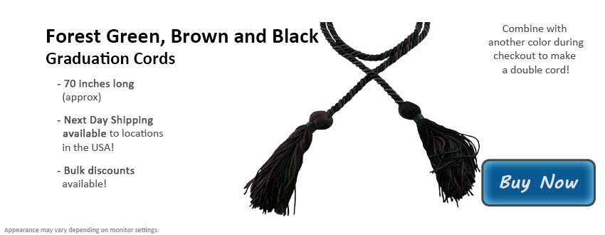 Forest Green, Brown, and Black Graduation Cord Picture