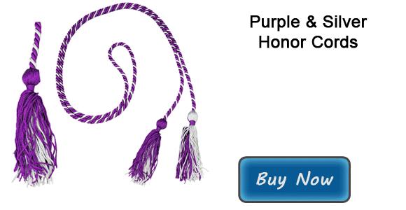 prestigious graduation cords in purple and silver