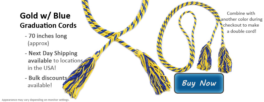 Gold and Royal Blue Graduation Cord Picture