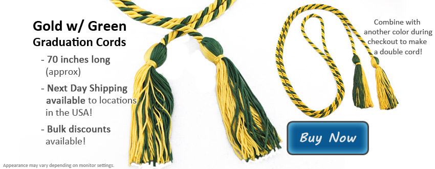 Gold and Green Graduation Cord Picture