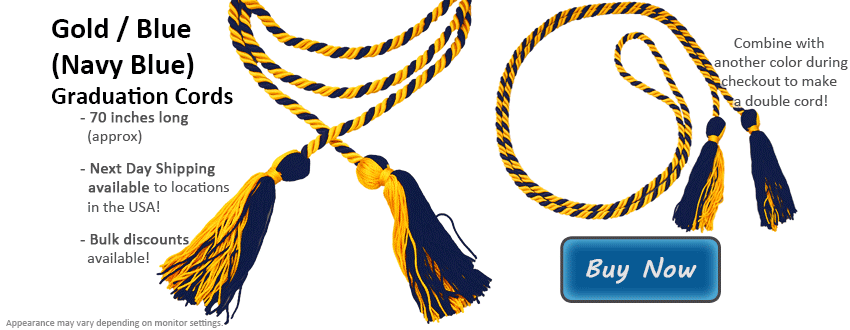 Gold and Navy Blue Graduation Cord Picture