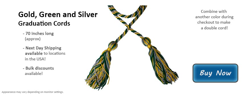 Gold, Green, and Silver Graduation Cord Picture