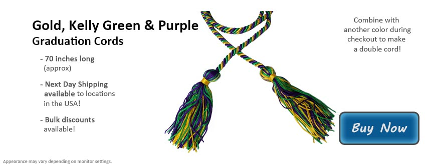 Gold, Kelly Green, and Purple Graduation Cord Picture