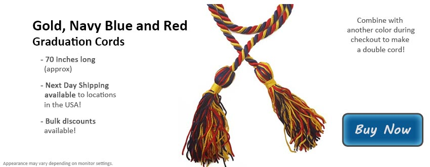 Gold, Navy Blue, and Red Graduation Cord Picture