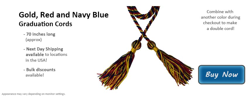 Gold, Red, and Navy Blue Graduation Cord Picture