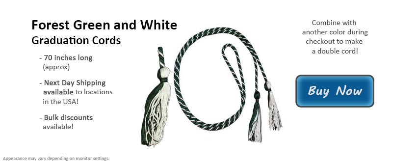 Forest Green and White Graduation Cord Picture
