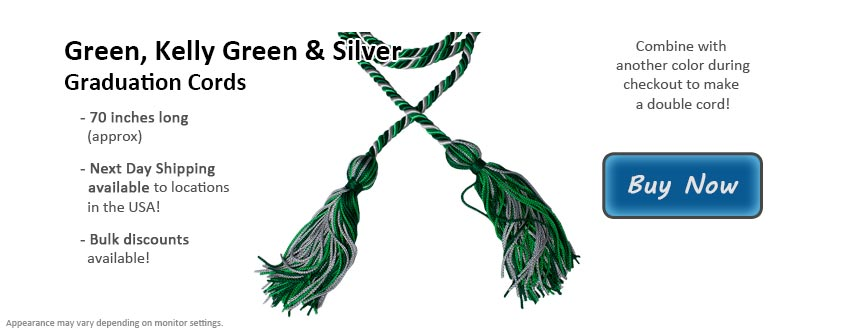 Green, Kelly Green, and Silver Graduation Cord Picture