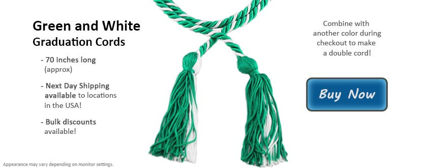 Green and White Graduation Cord Picture