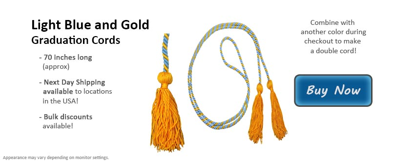 Light Blue and Gold Graduation Cord Picture