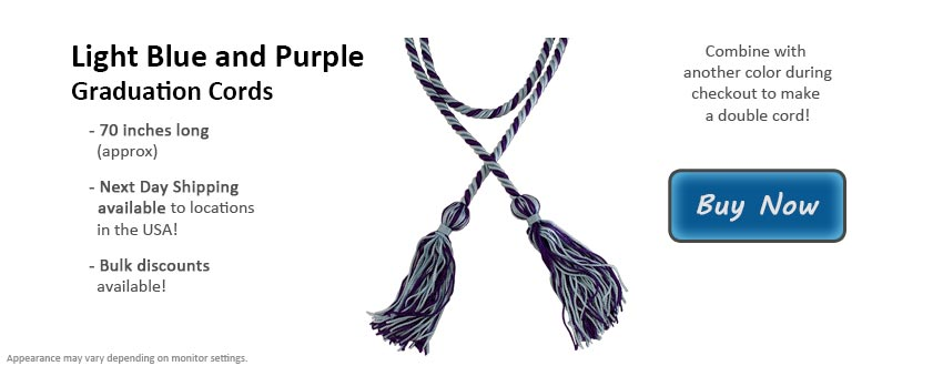 Light Blue and Purple Graduation Cord Picture