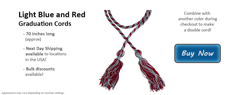 Light Blue and Red Graduation Cord Picture