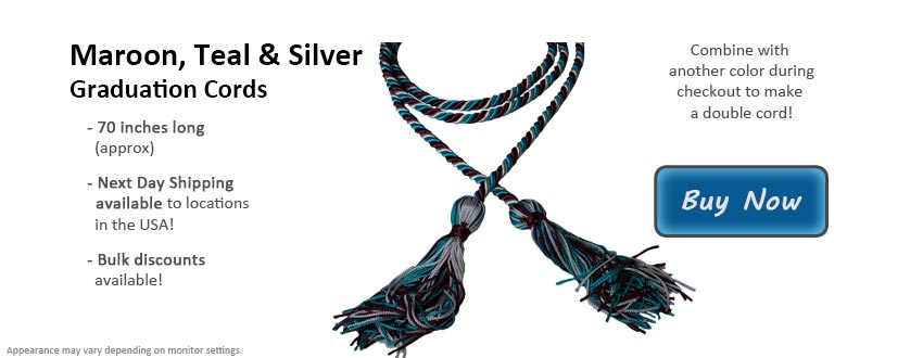 Maroon, Teal, and Silver Graduation Cord Picture