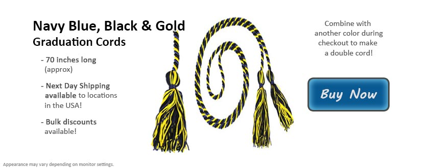 Navy Blue, Black, & Gold Graduation Cord Picture