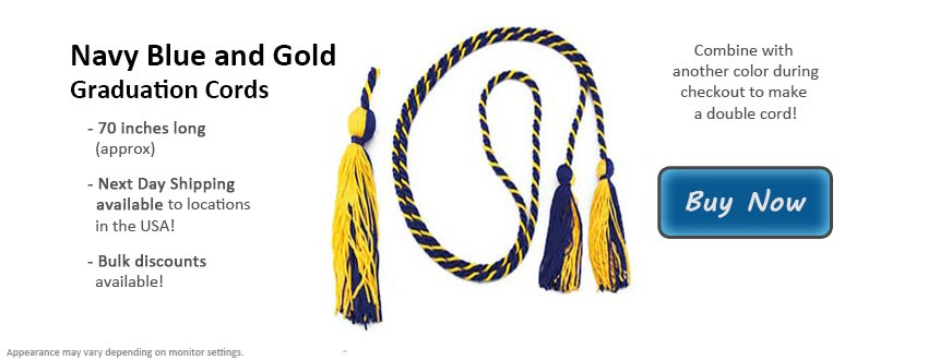 Navy Blue and Gold Graduation Cord Picture