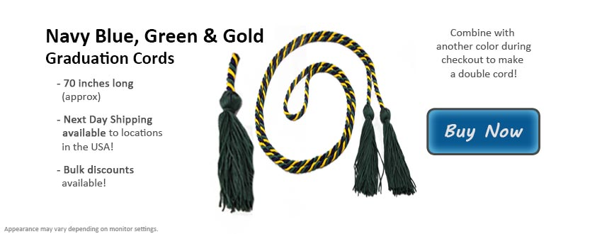 Navy Blue, Green, and Gold Graduation Cord Picture