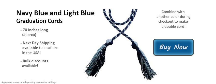 Navy Blue and Light Blue Graduation Cord Picture