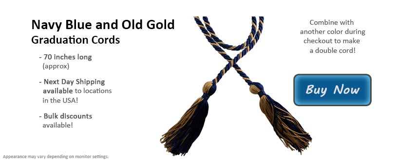 Navy Blue and Old Gold Graduation Cord Picture