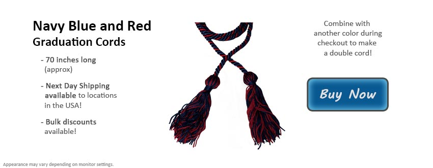 Navy Blue and Red Graduation Cord Picture