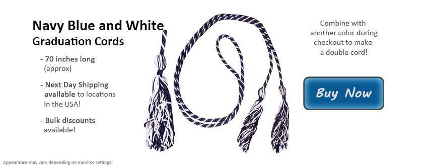 Navy Blue and White Graduation Cord Picture