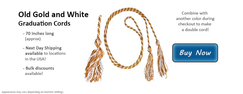 Old Gold and White Graduation Cord Picture