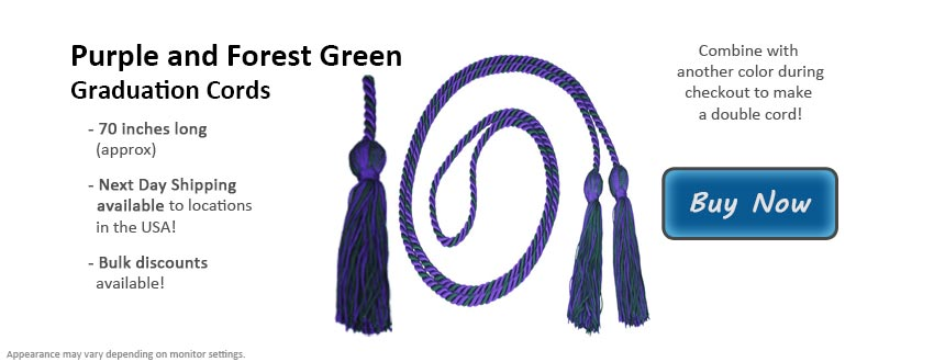 Purple and Forest Green Graduation Cord Picture