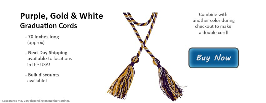Purple, Gold, and White Graduation Cord Picture