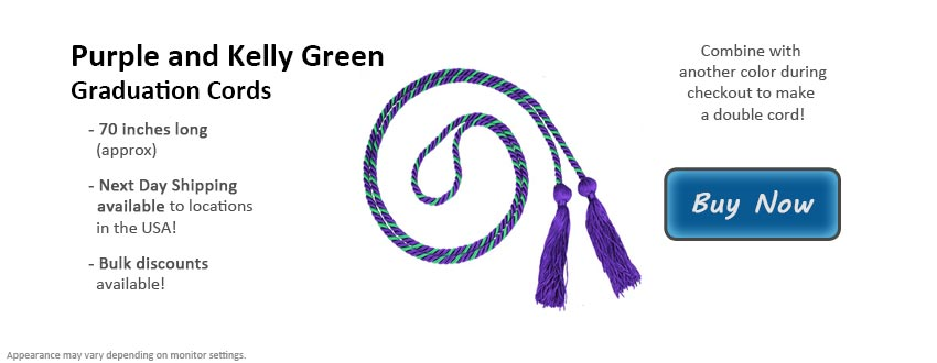 Purple and Kelly Green Graduation Cord Picture