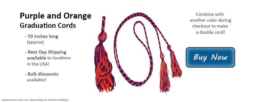 Purple and Orange Graduation Cord Picture