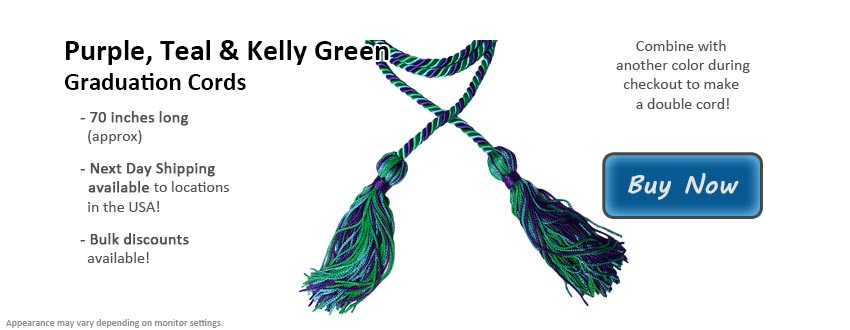 Purple, Teal, and Kelly Green Graduation Cord Picture