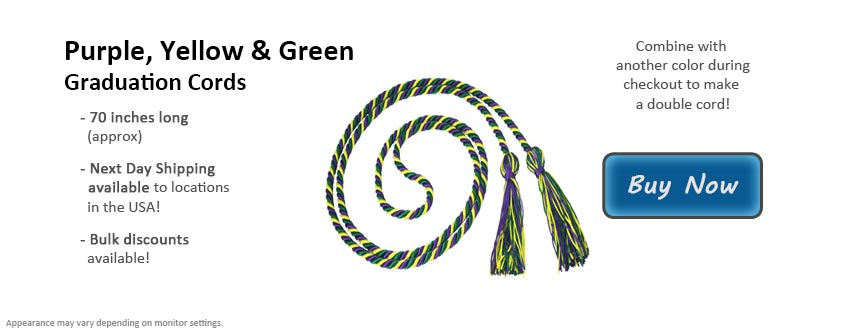 Purple, Yellow, and Green Graduation Cord Picture