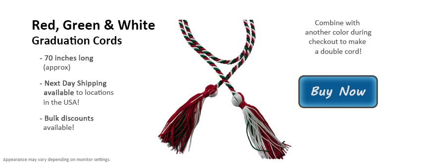 Red, Green and White Graduation Cord Picture