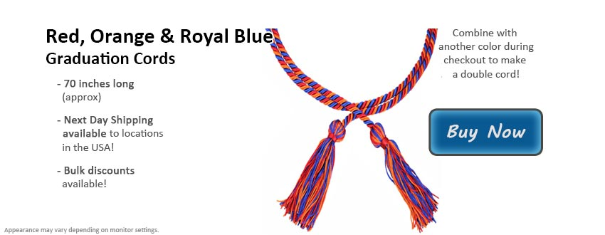 Red, Orange and Royal Blue Graduation Cord Picture