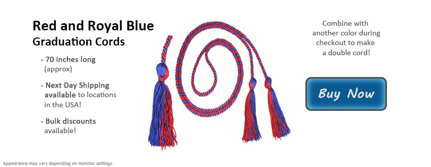 Red and Royal Blue Graduation Cord Picture