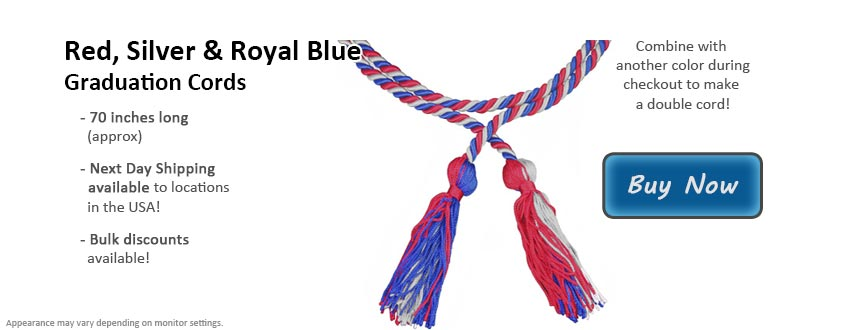 Red, Silver, & Royal Blue Graduation Cord Picture