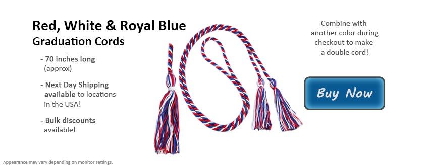 Red, White and Royal Blue Graduation Cord Picture