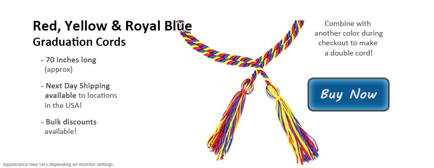 Red, Yellow & Royal Blue Graduation Cord Picture