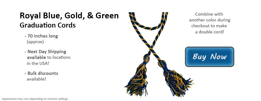 Royal Blue, Gold, and Green Graduation Cord Picture