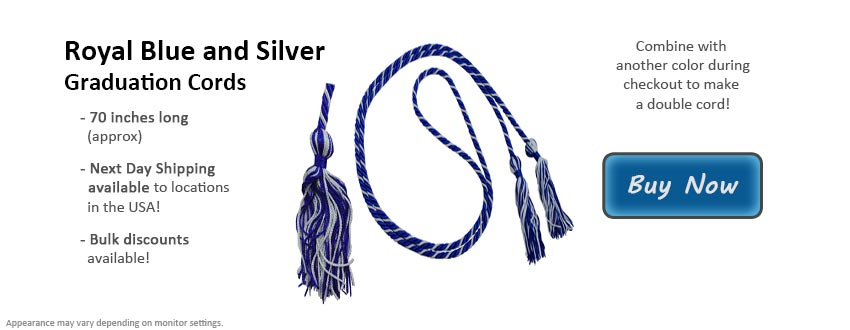Royal Blue and Silver Graduation Cord Picture
